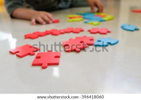 Jigsaw puzzle pieces, background concept #396418060