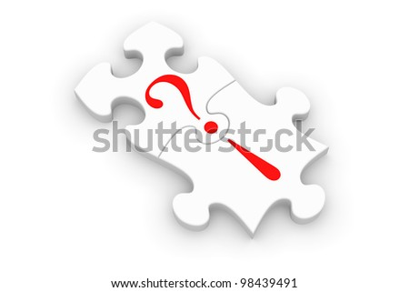 Jigsaw puzzle pieces connecting question and answer - stock photo