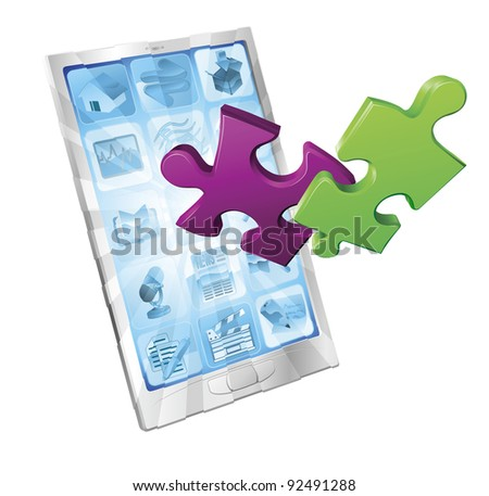 Jigsaw puzzle pieces flying out of a stylish mobile phone. Phone application concept.