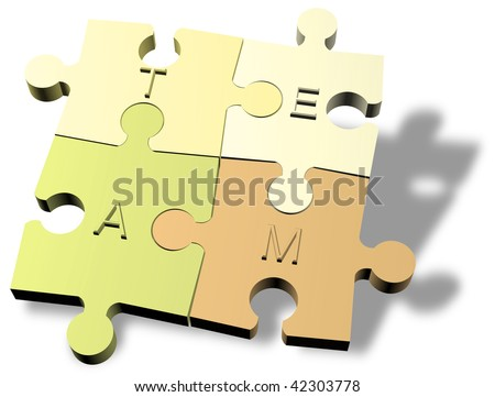 Jigsaw puzzle pieces forming a team