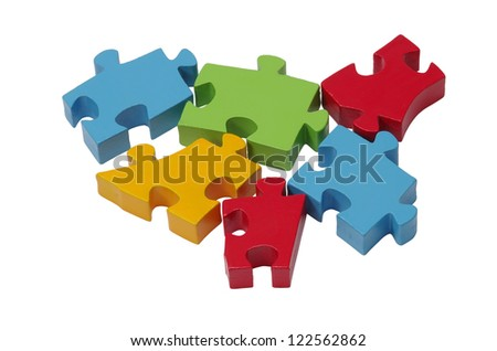 Jigsaw puzzle pieces isolated on a white background