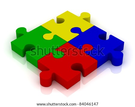 Jigsaw puzzle pieces with reflection - stock photo