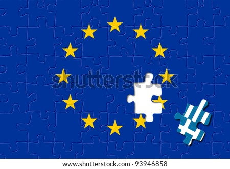 Jigsaw puzzle showing Greece removed from the European Union