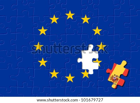 Jigsaw puzzle showing Spain is a part of the European Union