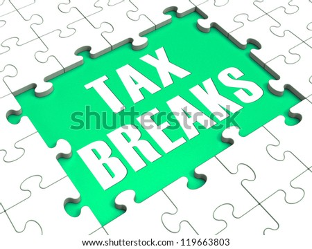Jigsaw Puzzle Showing Tax Breaks, tax Free, Loophole Stock photo ©
