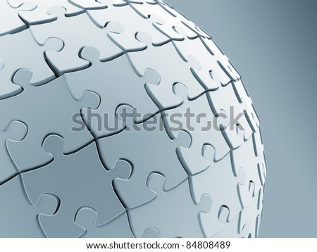 Jigsaw puzzle sphere - stock photo