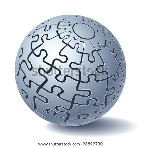 Jigsaw Puzzle Sphere. All Parts Together. Rasterized Version