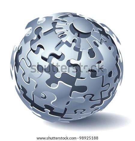 Jigsaw Puzzle Sphere. Dynamic Explosion. Rasterized Version