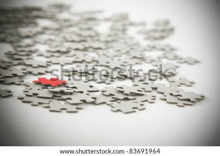 Jigsaw puzzle, success in business concept on white background