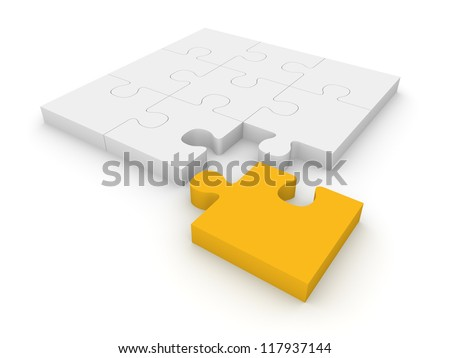 Jigsaw puzzle with different piece. 3d rendering.