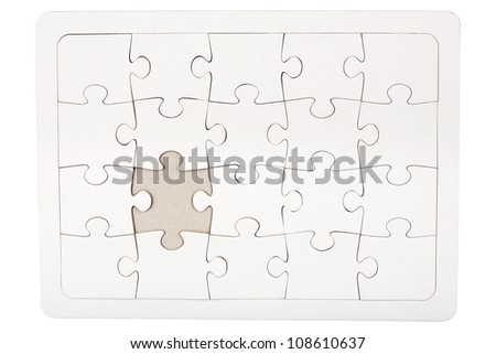 Jigsaw puzzle with missing piece isolated on white