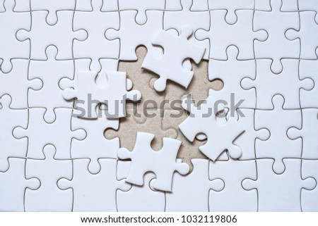Jigsaw Puzzle With One Missing Piece Left To Complete Copy Space 1032119806