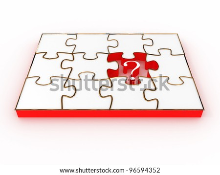 Jigsaw Puzzle with sign question isolated on white background. 3D image