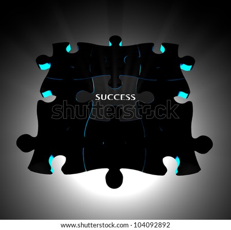 "Jigsaw puzzle with ""SUCCESS"" wording. Concept for business success."