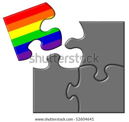 Jigsaw showing a piece containing a rainbow flag