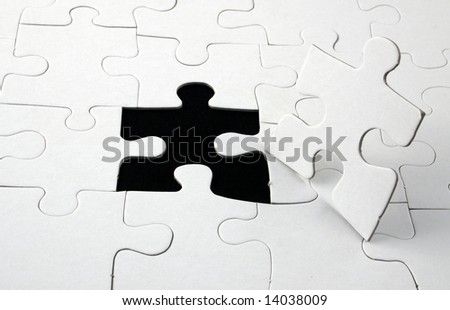jigsaw with man shaped piece out of place