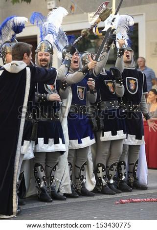 Jijona, Alicante province, Spain - August 23, 2013: Main parade into Jijona holidays \