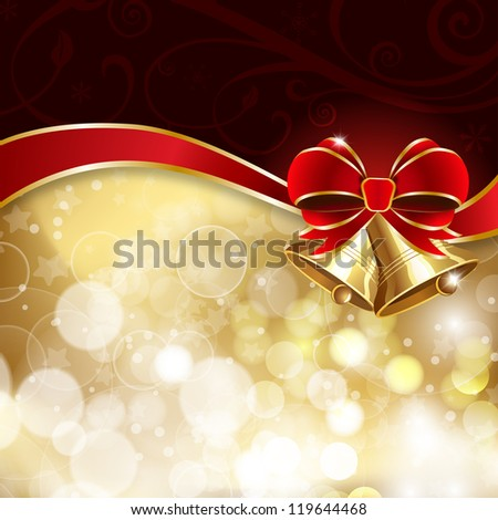 Jingle bells with red bow on a shines background. Raster version