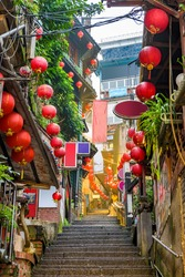 Jiufen, Taiwan at the landmark alleyway and steps.