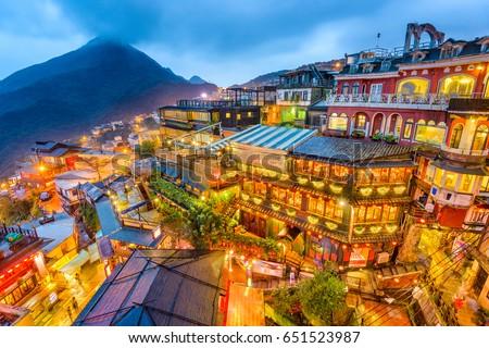 jiufen  taiwan hillside with...