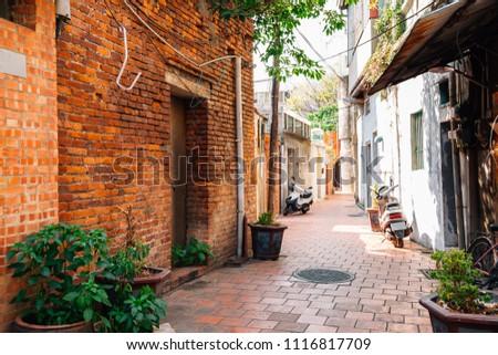Jiuqu Lane historic old street in Lukang, Taiwan