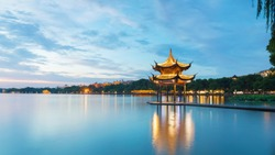 Jixian pavilion in hangzhou during sunset.the chinese word in photo means