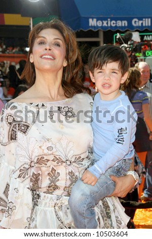 Jo Champa and son Sean  at the World Premiere of Dr. Seuss Horton  Hears a Who' held at the Mann Village Westwood. - stock photo