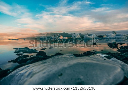 Stock Photo Jökulsárlón, the famous glacial lake in Iceland. The lake developed only 60 years ago, when the glaciar started receding from the edge of the Atlantic Ocean.