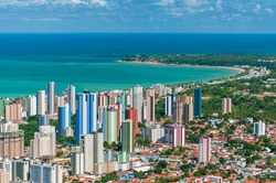 João Pessoa, State of Paraíba, Brazil on March 19, 2009. Partial view of the city showing buildings, the sea and the tip of Cabo Branco.