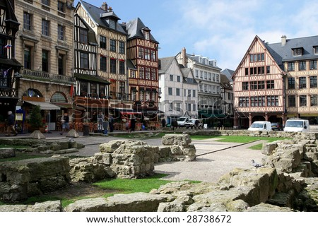 Joan's D'arc square in Rouen, Normandy, France. Place where in the Middle Ages Joan D'arc.was be burnt at the stake.