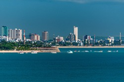 Joao Pessoa, State of Paraiba, Brazil on February 17, 2009. Partial view of the city showing buildings and the sea.