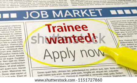 Job ad in a newspaper - Trainee wanted #1151727860