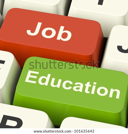 Job And Education Computer Keys Shows Choice Of Working Or Studying
