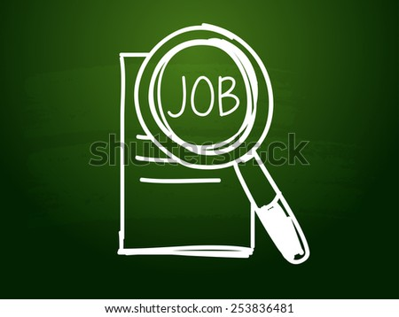 job and search sign - white chalk text with symbol over green blackboard, job seeking concept