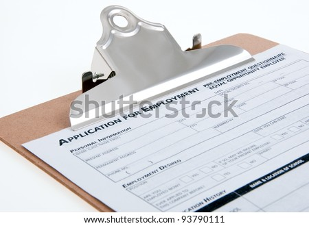 Job appication close-up on  clipboard