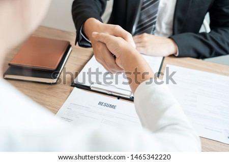 Job applicant business, career and placement businessperson shaking handwith candidate after successful negotiations or interview at the working place