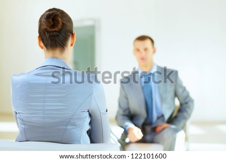 Job applicant having an interview in the office
