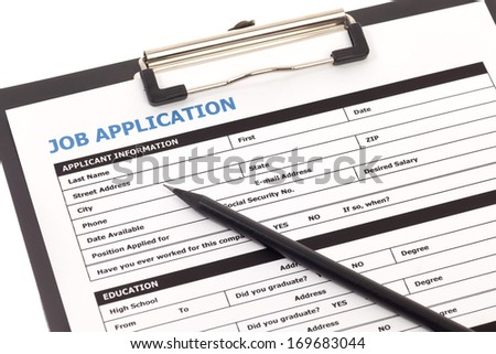 Job application form with pencil isolated on white background