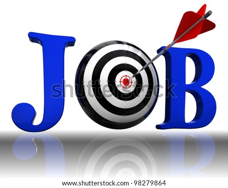 job blue word and conceptual target with arrow on white background.clipping path included