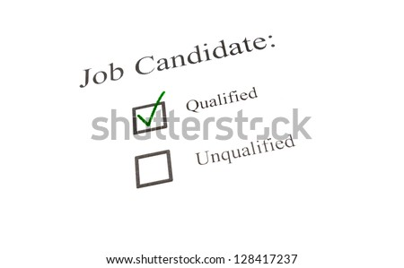 Job candidate green check in box on white