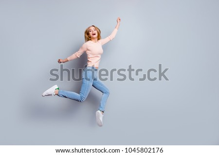 Job employment shoes legs laughter person fan concept. Full-length full-size view of laughing feeling good mood pretty businesswoman dressed in jeans denim sweater outfit isolated on gray background