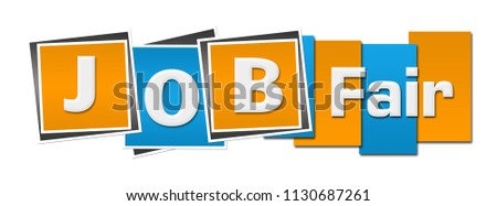 Job fair text written over blue orange background.