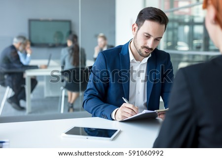 Job interview, businessman listen to candidate answers.