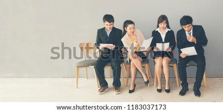 Job Interview concept.  Hiring Candidate prepare Questions and Best Answers for Interviewing with Human Resource Manager. Head hunter company with confident applicant waiting interview   recruitment. Сток-фото ©