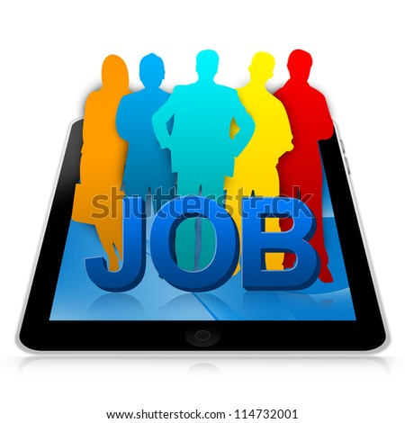Job Opportunities Concept Present By Tablet PC With 3d Job And Colorful Candidate Isolate on White Background