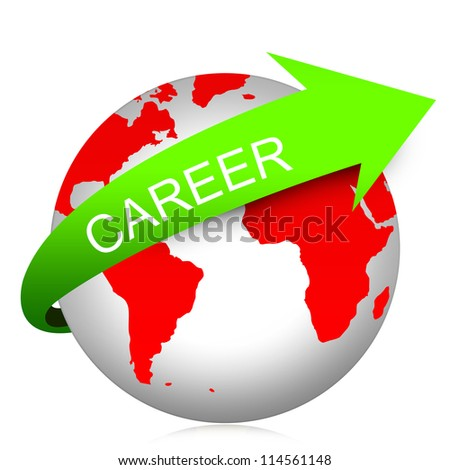 Job Opportunity Concept Present By Green Career Arrow On The Red Globe Isolated On White Background