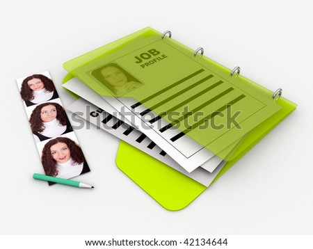 job profile folder with photos of a woman
