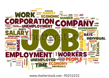 Job related words concept in word tag on white