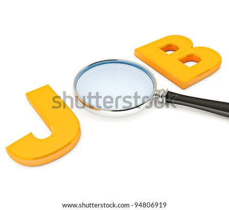 Job Search. 3D image of letters