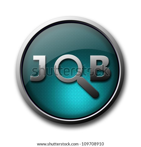 Job search glossy button isolated on white background